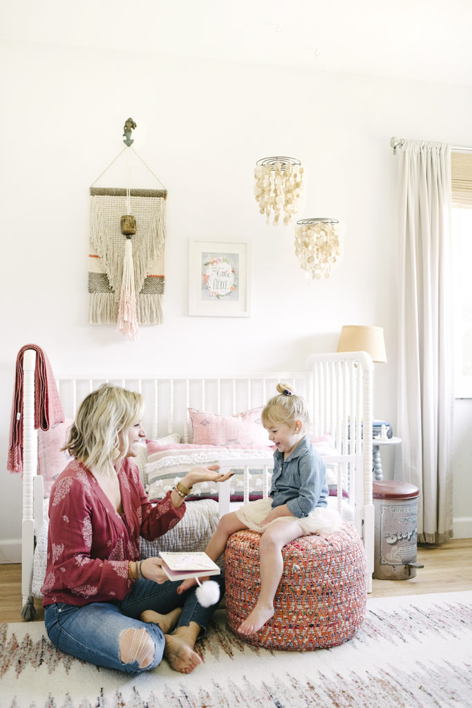 "White and pink girls bedroom with toddler bed remodel ""after photo"" designed by Kate Lester Interiors"